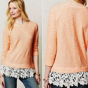 Anthropologie Lace Dipped Pullover